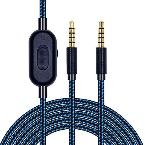 Logi-tech Astro A10 A40 A30 A50用2mワイヤーコントロールオーディオケーブル、3.5mm補助ポートヘッドフォンコード、耐久性のある実用的なウィービング交換用ヘッドフォンケーブル