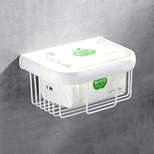 WENZHE Porte rouleau papier hygiénique Toilette Salle de Bain Rack Murale Blanc de peinture cuisson de cuivre panier tissu salle d'étagère, 19,5 * 13 * 9cm