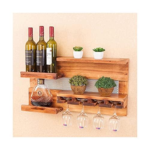 Botelleros de Hierro Metálico para Bares Estantes de vino industriales rústicos montados en la pared con soporte de vidrio, estantes flotantes de madera, sala de estar, sala de estar, decoración de