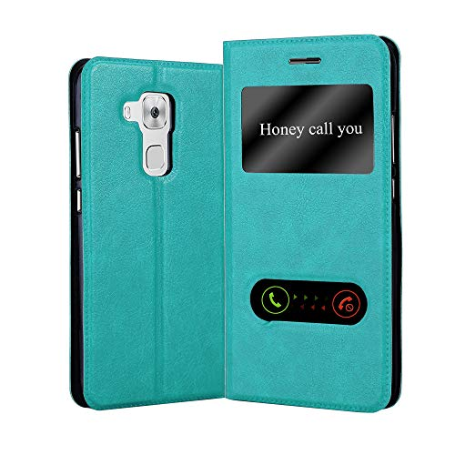 Cadorabo Hülle für Huawei NOVA Plus - Hülle in Mint TÜRKIS – Handyhülle im Standfunktion & 2 Fenstern (View Design) - Hülle Cover Schutzhülle Etui Tasche Book Klapp Style