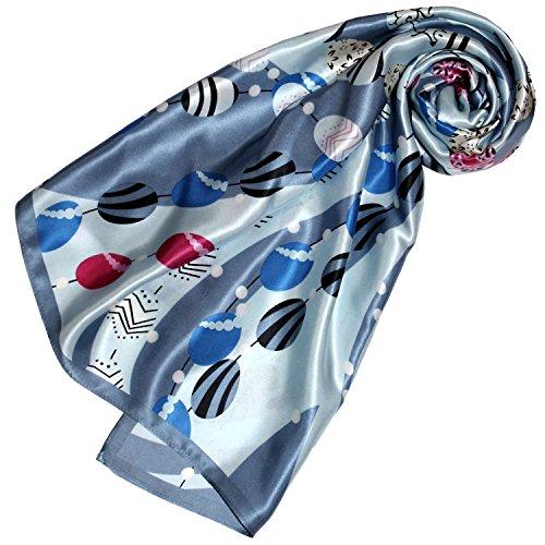 LORENZO CANA Foulard pour la femme – écharpe de 100% soie pour le printemps et l´été, carré avec les mesures de 90 x 90 cm – en gris bleu clair bleu noir blanc rouge