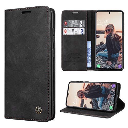 RuiPower Coque pour Samsung Galaxy A71 4G Cuir Etui Samsung Galaxy A71 Housse Premium PU Portefeuille [Magnétique] [Porte Cartes] [Stand Fonction] Protection Coque Rabat Samsung A71 - Noir