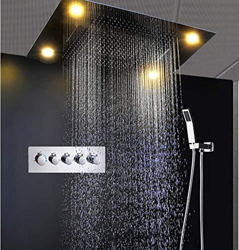 SISHUINIANHUA - Lujosa lámpara empotrable con 3 Funciones de alcachofa de Ducha, Ducha de Lluvia Grande, grifos de Agua, Set de baño Caliente y frío con Alto Flujo
