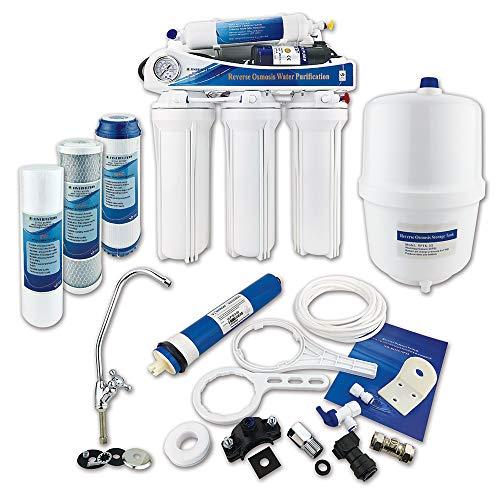 Finerfilters Home Système sous évier, 5 étapes, osmose inverse, avec pompe d'appoint à membrane d'élimination du fluorure, fournit l'eau potable la plus pure