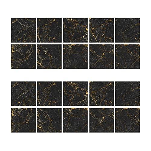 TYUTYU Etiqueta de la Pared 20 unids imitación Negra Oro mármol decoración decoración decoración PVC Autoadhesivo Pegatinas de Pared Palo Panel (Color : Black)