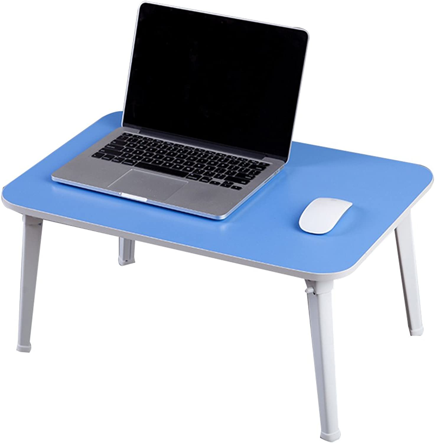 HAIPENG Computer Desk Notebook Lazy Folding Tables Small Foldable Bedside Table Wooden Dormitory (color   bluee, Size   60x40x29cm)