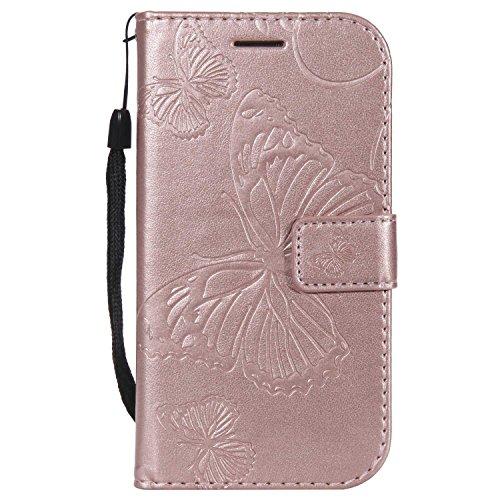 DENDICO Cover Galaxy S3, Pelle Portafoglio Custodia per Samsung Galaxy S3 Custodia a Libro con Funzione di appoggio e Porta Carte di cRossoito - Oro Rosa