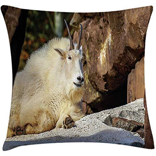 NAN TIAO Funda de cojín de Almohada de Cabra, Cabra de montaña Blanca Tomando el Sol en una Pendiente Idílica Escena de América del Norte 18 x 18 Pulgadas, Crema marrón y