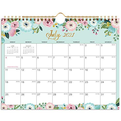 """2021-2022 Calendar - 18 Monthly Wall Calendar with Thick Paper, July. 2021 - Dec. 2022, 11"""" x 8.5"""", Twin-Wire Binding + Hanging Hook + Unlined Blocks with Julian Dates - Floral"""