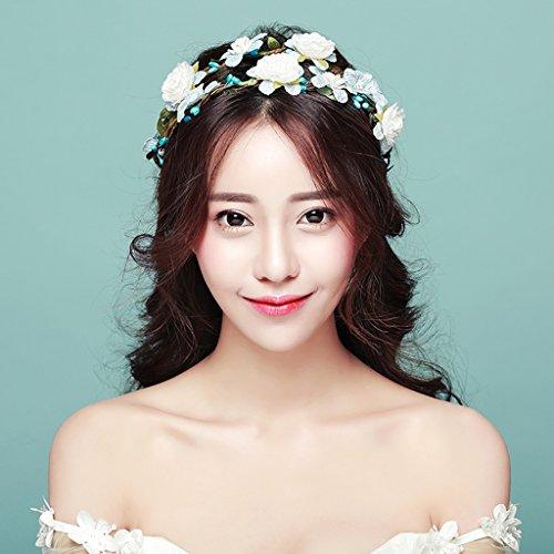 &Coiffe de corolle Couronne de fleurs, Bandeau Fleur Garland Fête de mariée à la main à la main Fait bande Bandeau Bracelet Bande de cheveux ( Couleur : A )