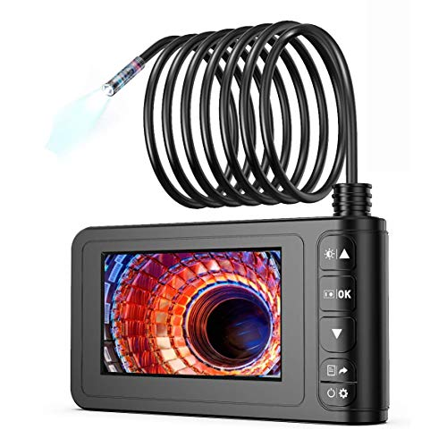Industrial Endoscope, SKYBASIC 1080P HD 8mm Digital Borescope Camera Waterproof 4.3 Inch LCD Screen Snake Camera Inspection Camera with 6 LED Lights, Semi-Rigid Cable, 32GB TF Card and Tool (16.5FT)