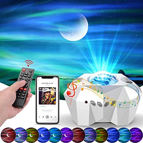 Sternenhimmel Projektor Lampe Nachtlicht, Audor 3D LED Sternenlicht Projektor Aurora-Effekt Stimmungslicht mit Bluetooth Musikplayer Timer Geschenke für Frauen Kinder Zimmer Deko Weihnachten Party