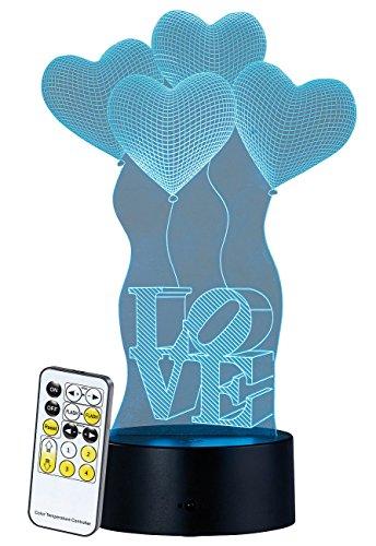 """Lunartec Hologramm-Leuchten: 3D-Hologramm-Lampe mit Leuchtmotiv""""Love im Herzen"""", 7-farbig (Illusion-Tischleuchte)"""