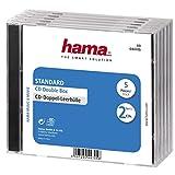 Hama - CD Double Jewel Case Standard, Pack 5, Transparente