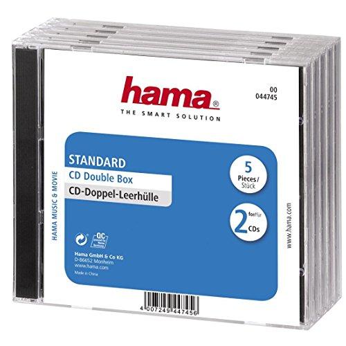 Hama CD-Doppel-Leerhülle (5er-Pack, Standard, CD-Hüllen) transparent/schwarz