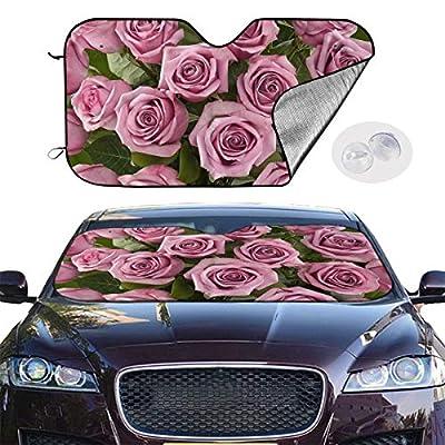 BIAN-61 Car Sun Shades for Windshield Foldable Pink Rose Sunshades for Car UV Sun Protection Keep Your Car Cooler