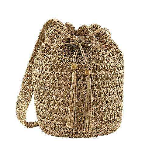Ayliss Women Beach Handbag Straw Crossbody Shoulder Handbag Summer Beach Handmade Woven Bucket Bag Drawstring with Tassel (Khaki)