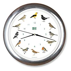 KOOKOO Singvögel Chrome, Singing birdclock Includes 12 Genuine Original Field Recordings from Native Songbirds, Large 34cm/13,4in Wall Clock with Light Sensor