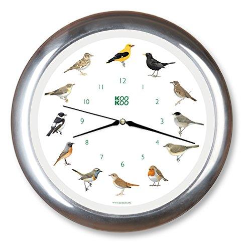 KOOKOO zangvogels kwartsuurwerk, de zingende vogelklok is een klok met 12 lokale zandvogels en echte, natuurlijke vogelstempel, wandklok met lichtsensor