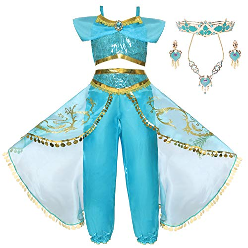 Canberries Disfraz clásico de princesa para niña, con lentejuelas, para Halloween, cosplay, danza del vientre, Navidad, Halloween, carnaval, fiesta de disfraces Vestido azul #02+ accesorios. 6-7 Años