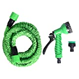 Andux Flexible Expandable Garden Hose Pipe Water Spray Gun Nozzle-No Kink (25FT)