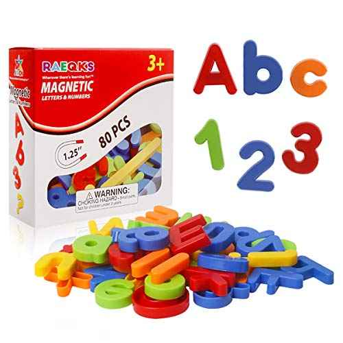 RAEQKS Magnetic Letters Colourful Alphabet Numbers Fridge Magnets ABC 123 Educational Toy Refrigerator Magnet for Toddlers Preschool Learning Game Spelling Counting Tools for 3 4 5 Years Kids(80Pcs)