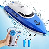 Remote Control Boat for Pools and Lakes,12+ mph RC Boat with 2 Rechargeable Battery, 2.4 GHz Lake Toys Remote Control Boats for Kids (Only Works in Water)