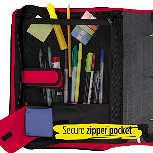 Five Star 2 Inch Zipper Binder, 3 Ring Binder, 6-Pocket Expanding File, Durable, Red (72538) Photo #6