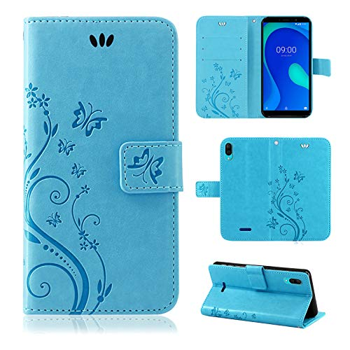 betterfon | Wiko Y80 Hülle Flower Hülle Handytasche Schutzhülle Blumen Klapptasche Handyhülle Handy Schale für Wiko Y80 Blau