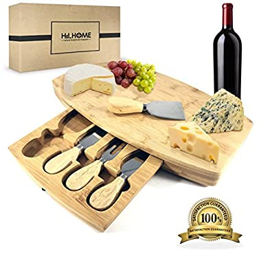 H&L HOME Natural Bamboo Cheese Board Set with 4 Serving Knives and Hidden, Removable Storage Drawer, with Bonus Wine Bag