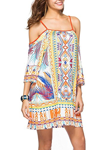 Women Sexy Floral Bohemian Beach Dress Bikini Cover Up Braces Skirt #1 Large