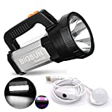 BIGSUN Bright LED Rechargeable Flashlight 9600mAh Brightest Hand held Spotlight Tactical High Power Searchlight Large Torch Red and Blue Flash Light, Side Floodlight Work Light Camping Lantern