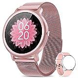 Smartwatch Damen NAIXUES Fitness Tracker Fitness Armbanduhr mit Pulsuhr Schlafmonitor IP68 Wasserdicht Smart Watch Sportuhr Aktivitätstracker Schrittzähler Stoppuhr Fitnessuhr Damen für iOS Android