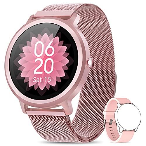 NAIXUES Smartwatch Damen Fitness Tracker Fitness Armbanduhr mit Pulsuhr Schlafmonitor IP68 Wasserdicht Smart Watch Sportuhr Aktivitätstracker Schrittzähler Stoppuhr Fitnessuhr Damen für iOS Android