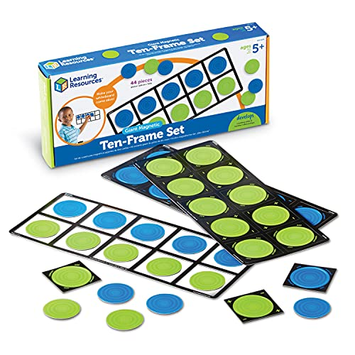Learning Resources Giant Magnetic Ten-Frame Set, Classroom Math Set, Magnetic Whiteboard Set, Classroom Demonstration, Set of 4, Ages 5+