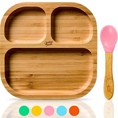 bambuswald© vajilla para niños con ventosa y cuchara | plato para niños...