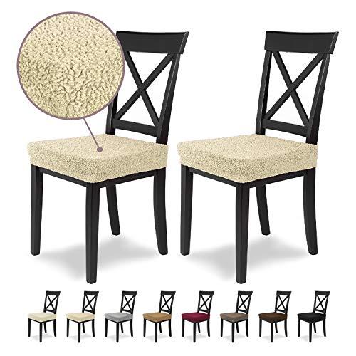 Housses de siège SCHEFFLER-Home Jacquard Lea 2 Set, élastiques Couverture Spandex, Couvre de Chaise siège, Crème-Nature