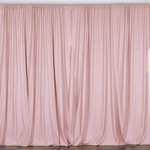 AK TRADING CO. 10 feet x 10 feet Polyester Backdrop Drapes Curtains Panels with Rod Pockets - Wedding Ceremony Party Home Window Decorations - Blush Pink (DRAPE-5x10-BLUSH)