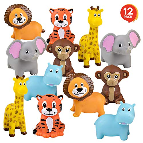 ArtCreativity Vinyl Zoo Animals, Pack of 12 Assorted Squeezable Toys, Safari Birthday Party Favors for Kids, Fun Bath Tub and Pool Toys for Children, Educational Learning Aids for Boys and Girls