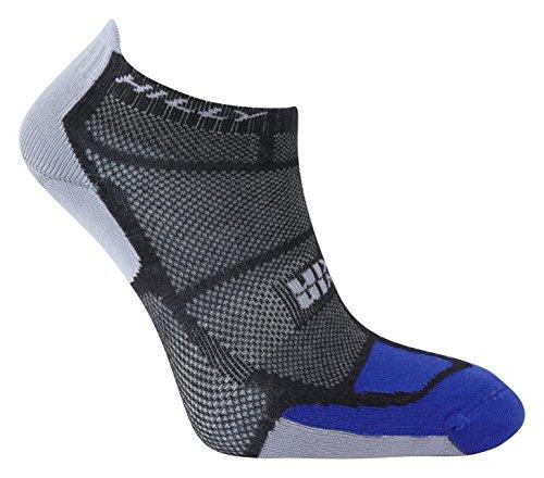 Hilly Men's Twin Skin Socklet Socks, Black/Electric Blue/Grey, Large