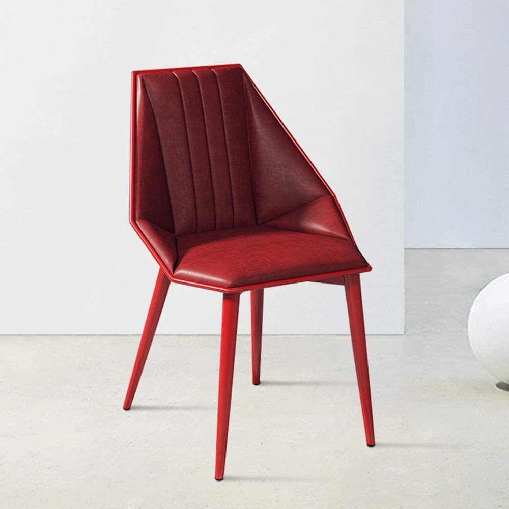 LJFYXZ Chaises Salle Manger Décoration d'intérieur Chaise de Bureau Simple Dossier Souple Chaise de Salle à Manger pour Café-Bar Pieds en métal (Color : Red) Red