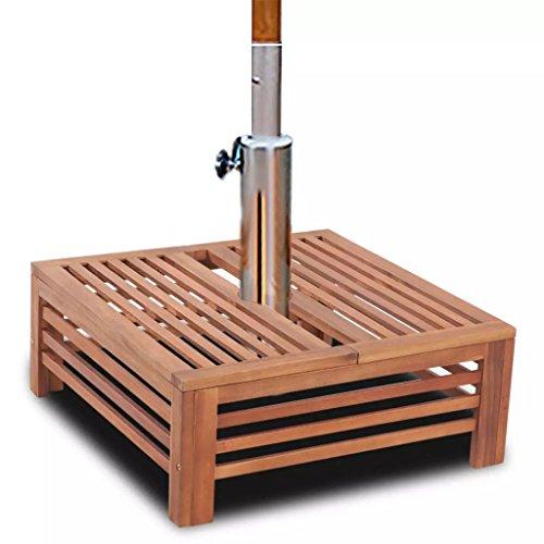 SHENGFENG Boîtier pour la base de l'ombrelle, de bois d'acacia Durable, pour la Parasol ou une table d'appoint atractiva 62 x 62 x 25 cm
