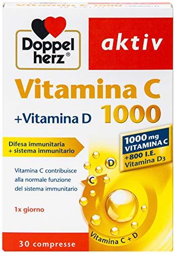 Vitamina C 1000mg Compresse - Integratore alimentare ad alto Dosaggio con vitamin C e D per sostenere il sistema immunitario e proteggere le cellule - 1 x 30 compresse