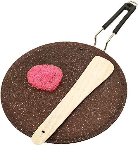 ASP Online Traders Niet Stick Dosa Pan Met Inductie Base Niet Stick Dosa Tawa Compatibel Platte Tava Ronde Grillplaat Antistick Omelet Koekenpan Voor Koekenpan Met Fix Handvat (285MM)