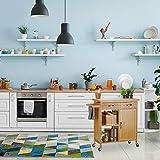 Relaxdays Küchenwagen Holz, Bambus, 4 Rollen, Arbeitsplatte aus Marmor, mit Schubladen, HBT: 85,5 x 89,5 x 36 cm, natur - 2