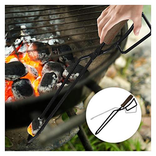 Leslien BBQ Grill Carbon Clip, Kohle Zange Außen Grill Werkzeuge, Feuerzange Brennholzzange Kohlezange für Lagerfeuer Kaminöfen Holzofen (Schwarz)