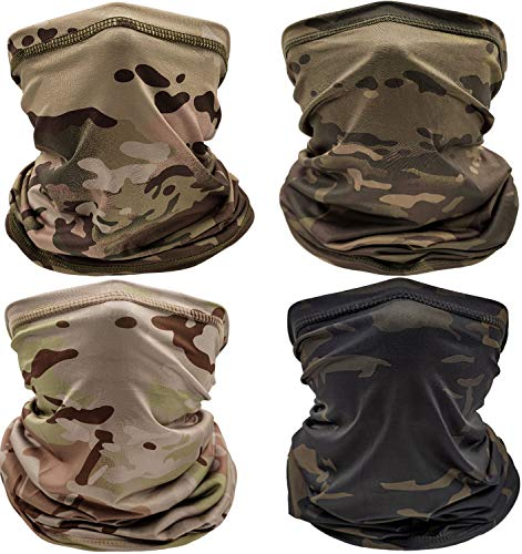Sun UV Protection Neck Gaiter Bandana Face Cover Scarf Headwear Headband Men/Women for Fishing Cycling Running(4pcs Tactical Neck Gaiter)