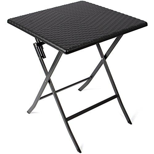 Vanage Beistelltisch in schwarz - eckiger Gartentisch in Rattanoptik - Kunststofftisch für Garten, Terrasse und Balkon geeignet - Bistrotisch mit Stahlgestell