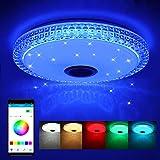 Lámpara de Techo LED de 72W con Altavoz Bluetooth, Control Remoto o de APP, Lámpara de Música con...