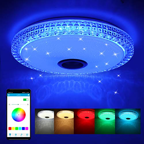 Lámpara de Techo LED de 72W con Altavoz Bluetooth, Control Remoto o de APP, Lámpara de Música con Cambio de Color, 4300 Lúmenes Ø40cm Lámparas de Techo Regulables para Salón, Habitación de Niños